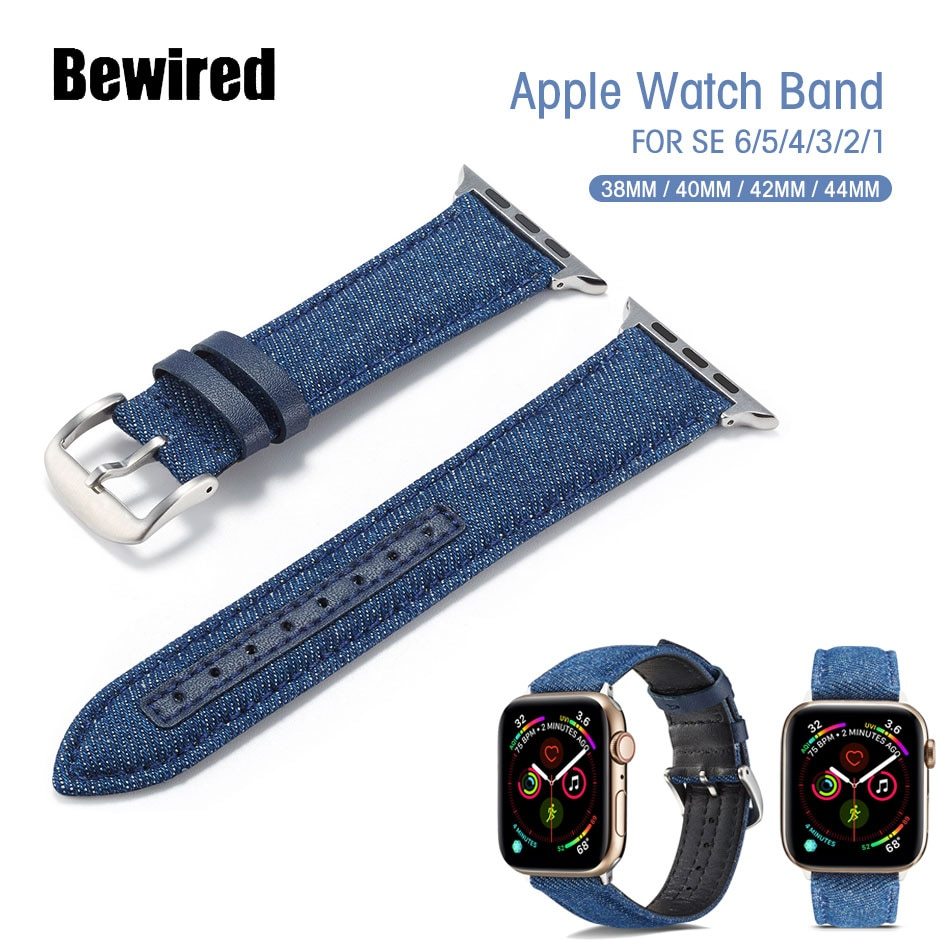 urvoi leather loop for apple watch series 3 2 1 band for iwatch comfortable feel soft leather strap with magnet buckle Sport Watch Band for Apple Watch SE 6/5/4/3/2/1 Loop Band 38MM 42MM for iWatch Series 40MM 44MM Denim Leather Bracelet Strap