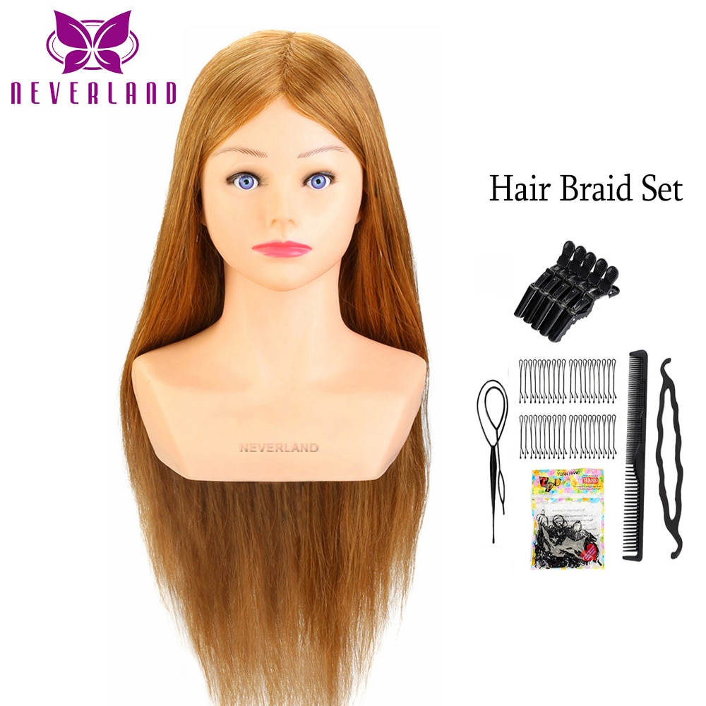 24''80% Real  Hair  Hairdressing Training Head Hairstyle Doll With Shoulder Braiding Curling Practice Mannequin Head