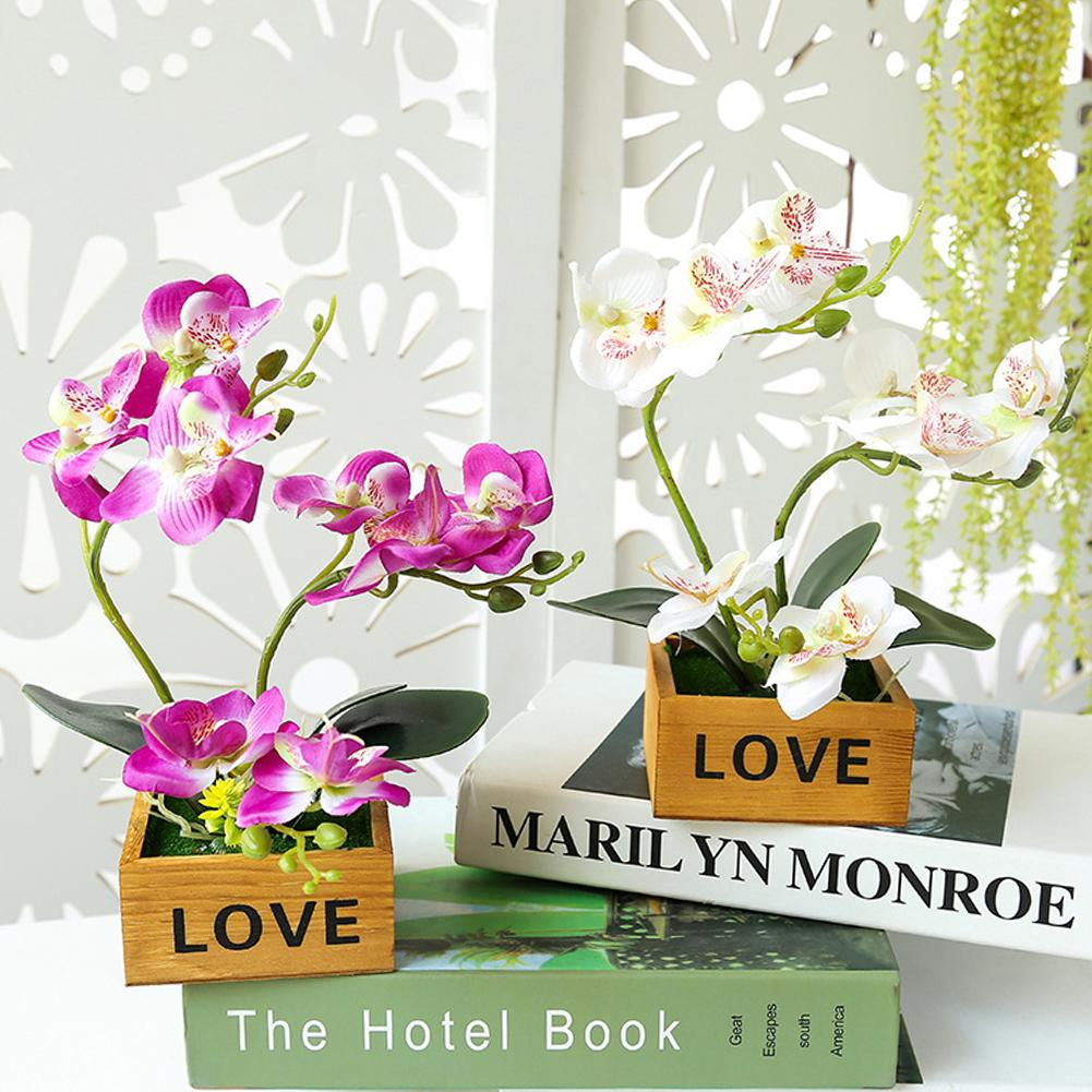 ¡Nuevo! 1 unidad de plantas artificiales bonsái Flor Mariposa orquídea maceta bonsái flores falsas en maceta jardín DIY decoración del hogar de escritorio