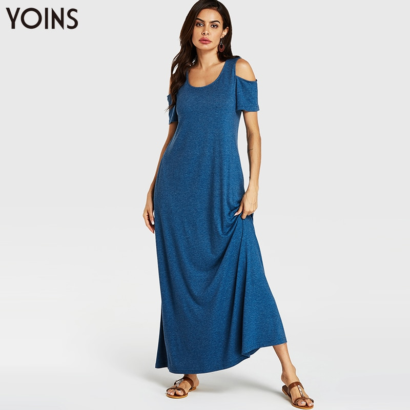 YOINS Women Summer Bohemian Long Maxi Dress 2020 Women Sexy Cold Shoulder Short Sleeve Evening Party Beach Dresses Sundress Blue