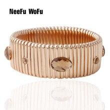 NeeFuWoFu 25mm printemps chaîne Bracelet placage or cuivre pierre naturelle Bracelets bohême de Madera Pulseira Estrela de Cinco