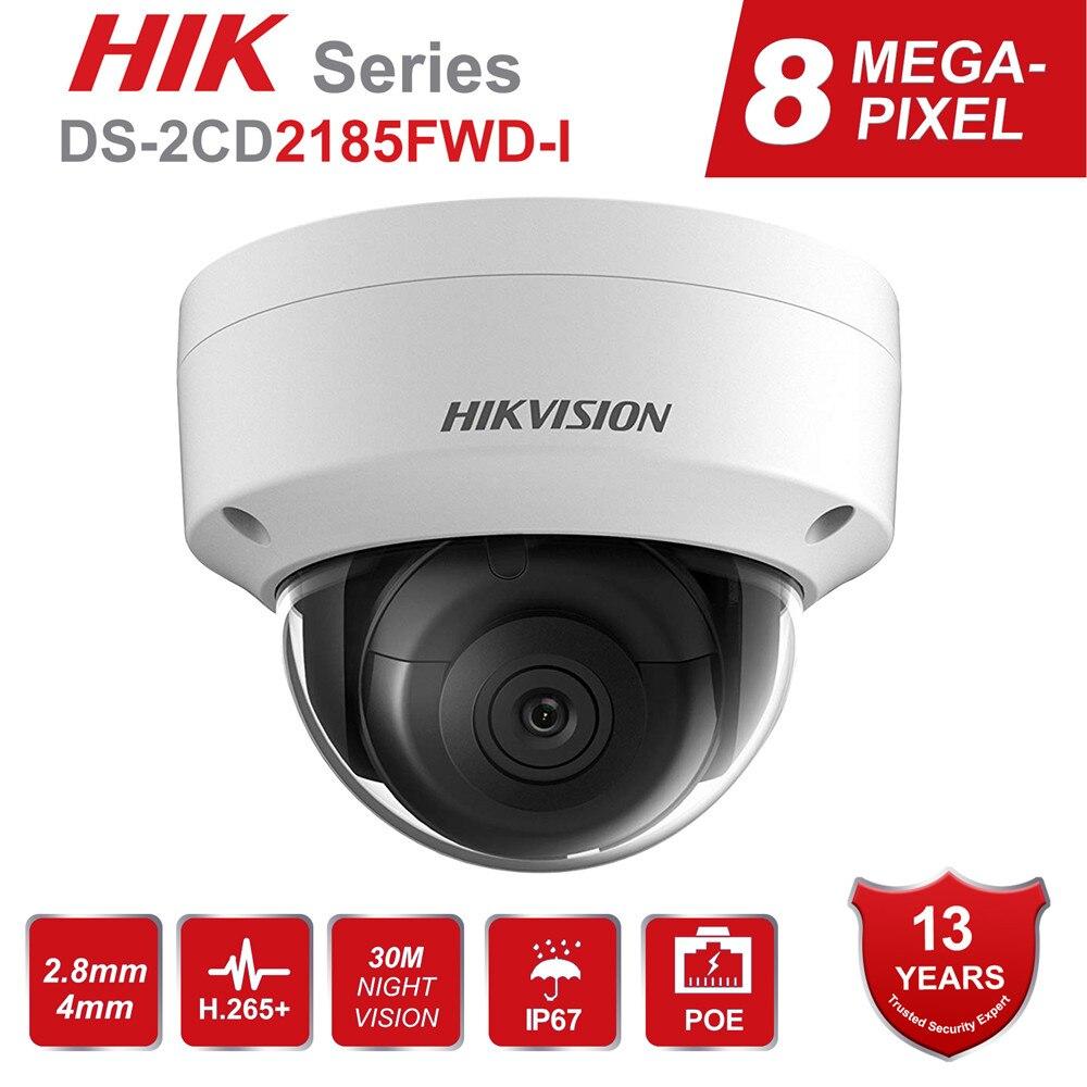 Cámara IP POE de 8MP de Hikvision DS-2CD2185FWD-I cámara de seguridad domo de red 4K al aire libre CCTV tarjeta SD 30m IR H.265 +
