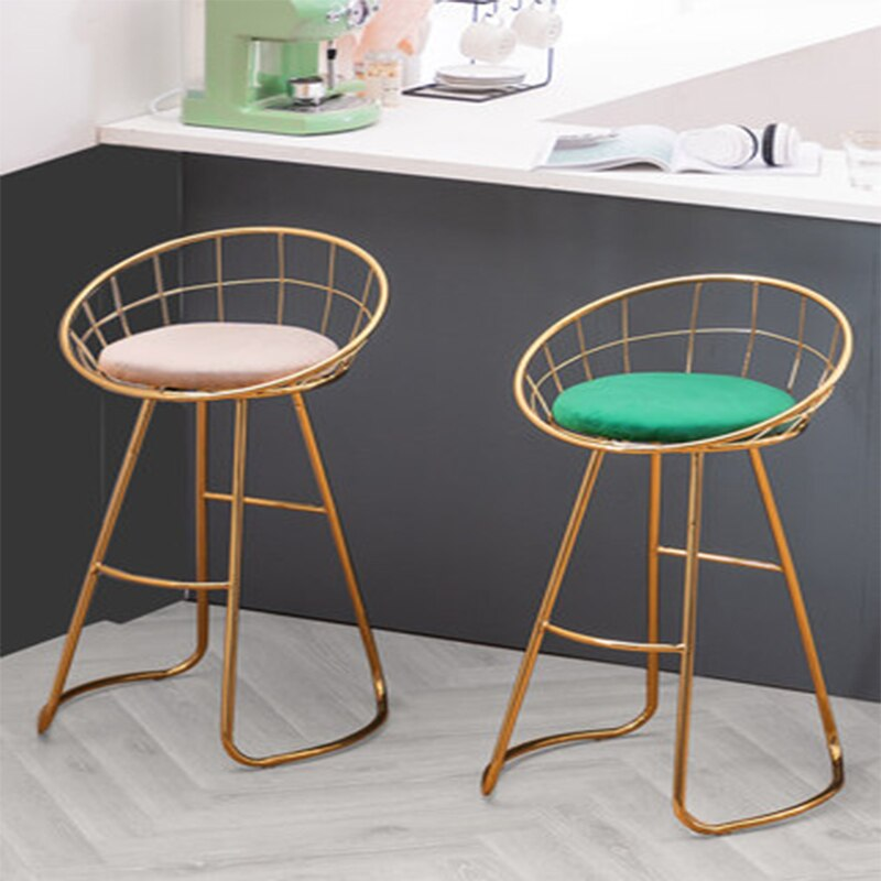 Silla de bar de lujo ligera de Ins nórdica, moderna silla de bar simple de respaldo familiar taburete alto de moda taburete de alambre Luz de metal nórdico luxu