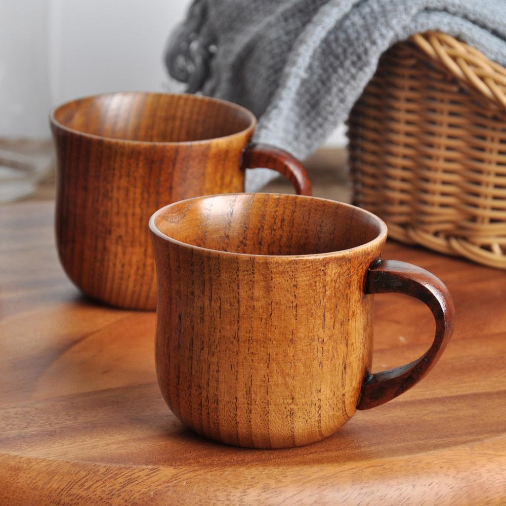 Taza de café Natural, botella de agua, taza de té de madera Jujube con empuñadura para leche, vino de viaje, vasos de cerveza para el hogar, Bar, utensilios de cocina FDH