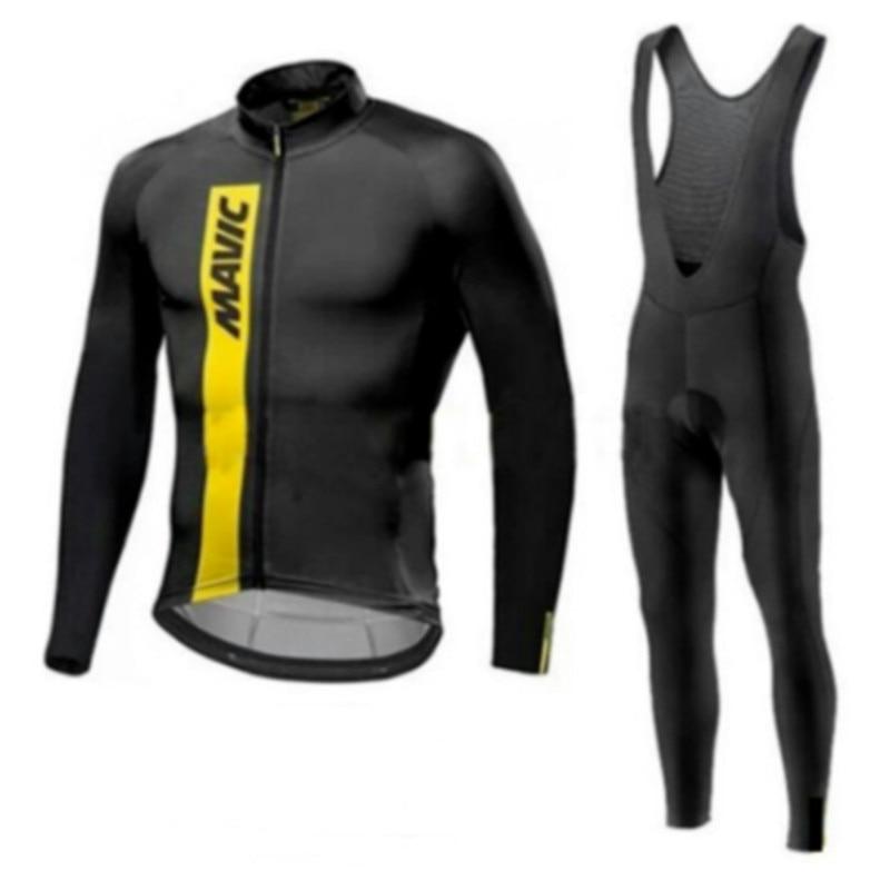 Mavic 2019 Long Sleeve Autumn/Spring Cycling Jersey Set Bib Pants Bike Clothing Mtb Bicycle Clothes Wear Maillot Ropa Ciclismo