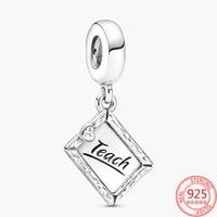 new 925 sterling silver for women teacher chalkboard beads charm pendant fit original pandora bracelet necklace diy jewelry gift