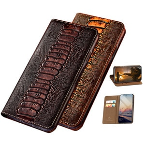 Ostrich texture natural leather holster case funda for Nokia 6.7/Nokia 6.3/Nokia 5.4/Nokia 3.4/Nokia 2.4 phone case card hoder