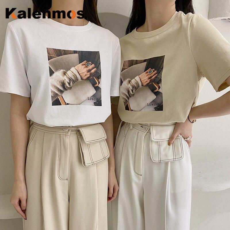 KALENMOS, camisas de manga corta para mujer, Tops Harajuku coreanos de verano 2020, blusas elegantes sueltas, ropa de calle gótica de ocio