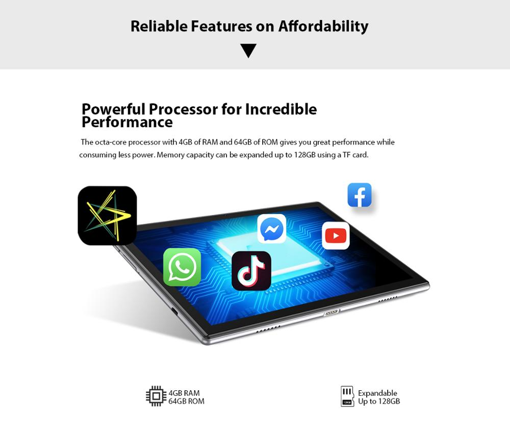 Blackview Tab 8 2in1 Tablet  Smartphone Octa Core 10.1 Inch 4GM+64GM Android 10.0 Dual 4G VoLTE Tablet Phone 6580mAh Face Unlock enlarge