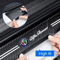 car threshold anti stepping anti scratch trunk welcome pedal carbon fiber leather for alfa romeo giulia stelvio 159 147