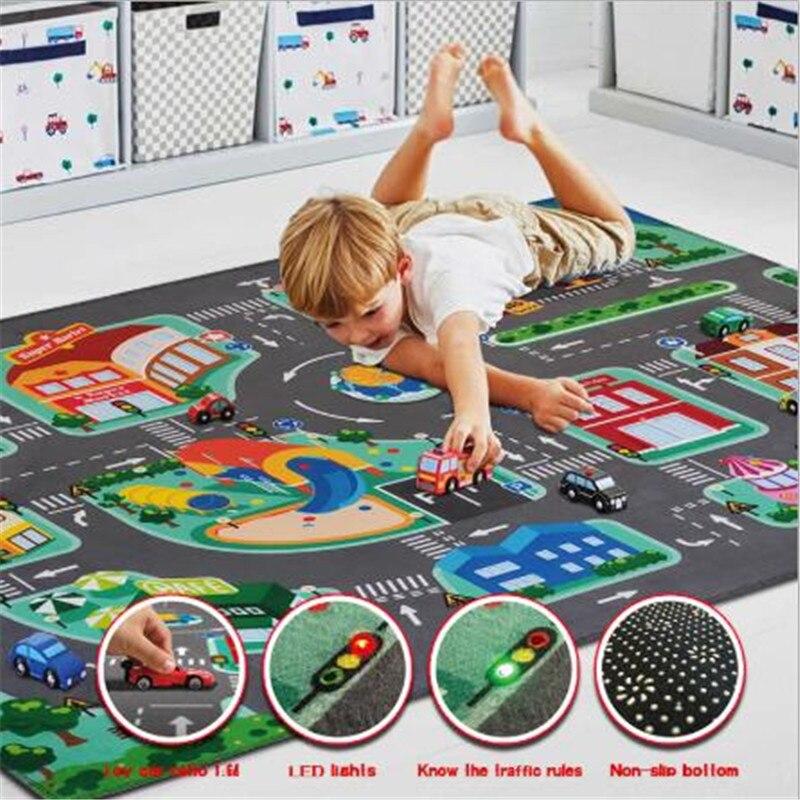 سجادة لعب للأطفال ، بطانية زحف للأطفال ، سجادة لعب على الطرق ، حركة المرور للأطفال ، المدينة ، الطريق الأخضر
