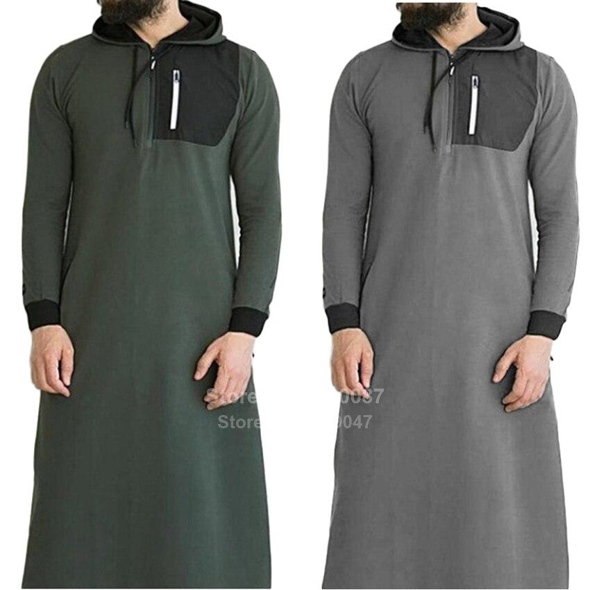 Muçulmano tradicional cloting masculino muçulmano jubba thobe moda streetwear casusl árabe saudita dubai zíper camisola com capuz robe abaya