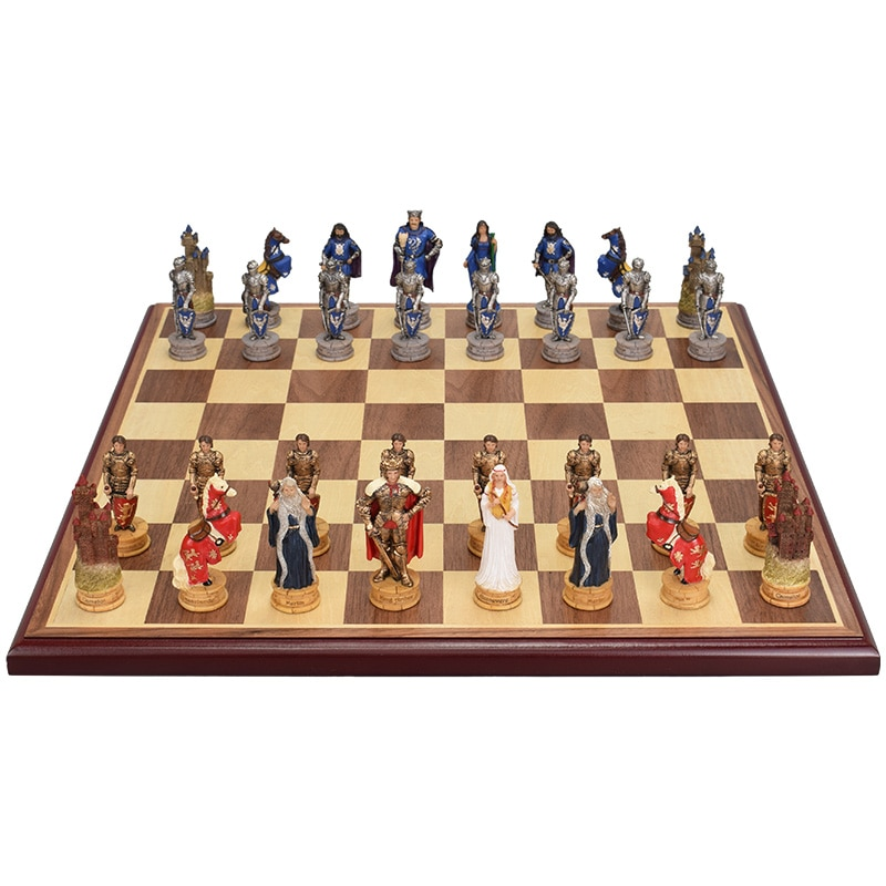 Antique Adult Chess Pieces Game Accessories Board Resin Large Medieval Chess Entertainment Szachy Family Table Games DE50QL