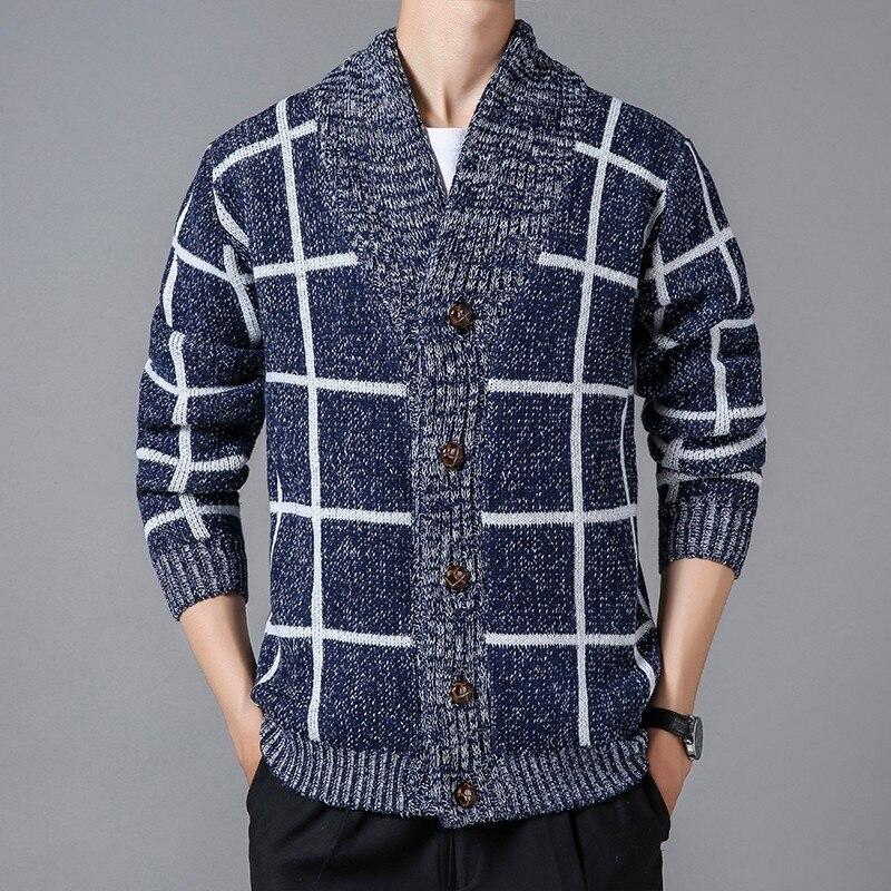 Кардиган, Свитер, мужской свитер, пальто, Осенний вязаный приталенный свитер в клетку, Мужской однобортный свитер, куртка, верхняя одежда