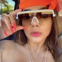 Rimless Sunglasses Square Women Men Oversize 2021 Retro Brand Design Flat Top Rectangle Eyewear UV40