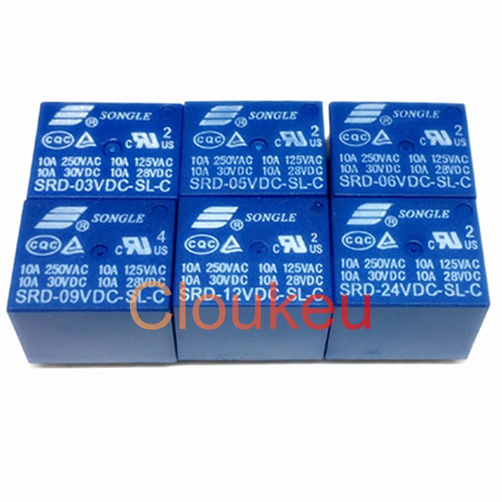 Relais SRD-03VDC 05VDC 06VDC 09VDC 12VDC 24VDC 48VDC-SL-A -C 10A 4pin 5pin
