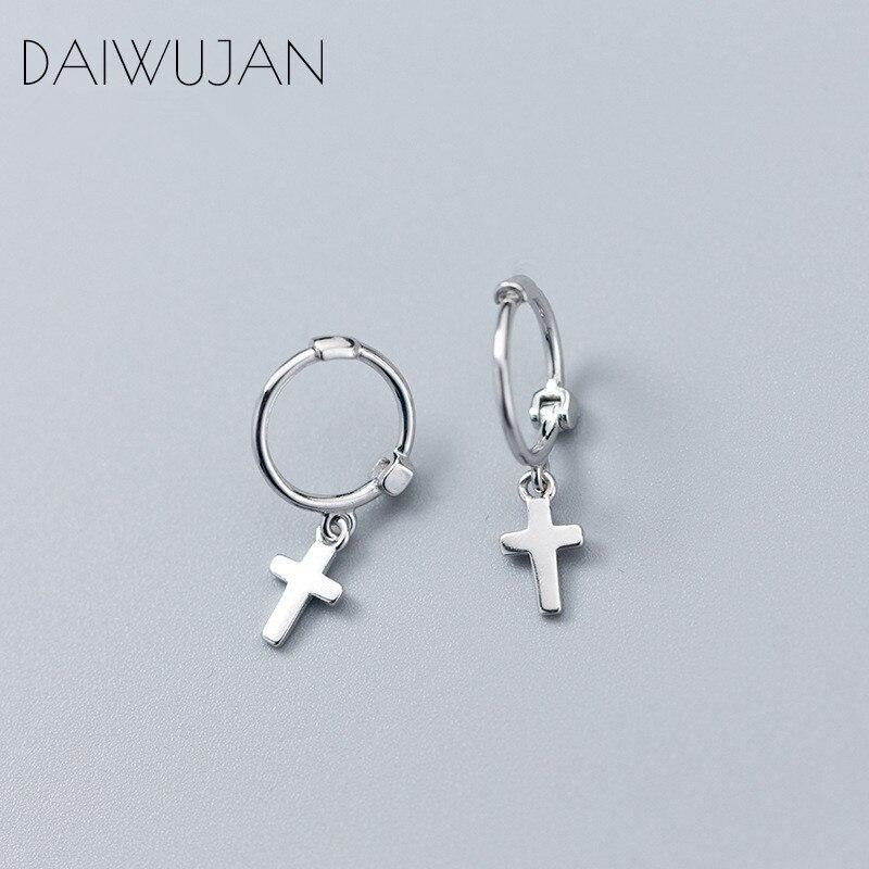 DAIWUJAN Minimalist Real 925 Sterling Silver Cross Pendant Small Hoop Earrings Punk Earring For Women Birthday Party Accessories