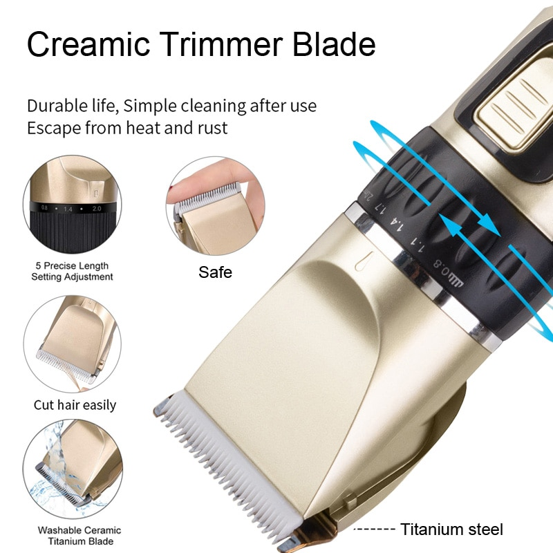 Hair Clippers for Men Cordless Hair Beard Trimmer Fine-Tuning Professional Hair Cutting Machine Kits with Comb Ceramic Blade enlarge