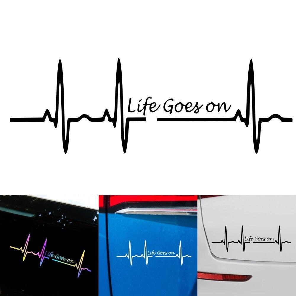 Наклейки с изображением пульса, наклейки с надписью life Go on, DIY Украшение для моделирования, стильные автомобильные аксессуары для мотоцикло...