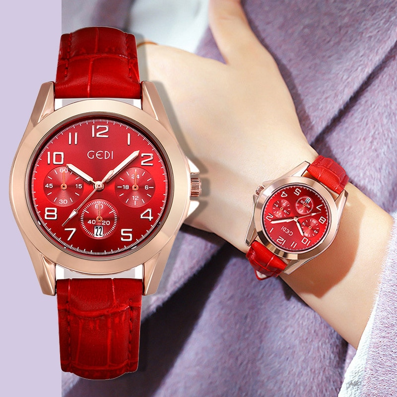 Luxury Golden Women Dress Watches Unique Red Retro Antique Business Women Watch Top Brand Waterproof Female Leather Clock Gift enlarge