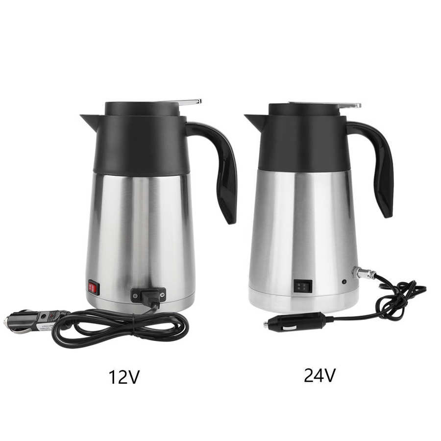 dmwd 12v 24v vehicle hot water boiling electric kettle travel truck thermal insulation heating cup car teapot boiler bottle 1 2l 1.3L Electric Kettle 12V 24V Car Truck Travel Heating Kettles 304 Stainless Steel Coffee Tea Water Boiler Teapot