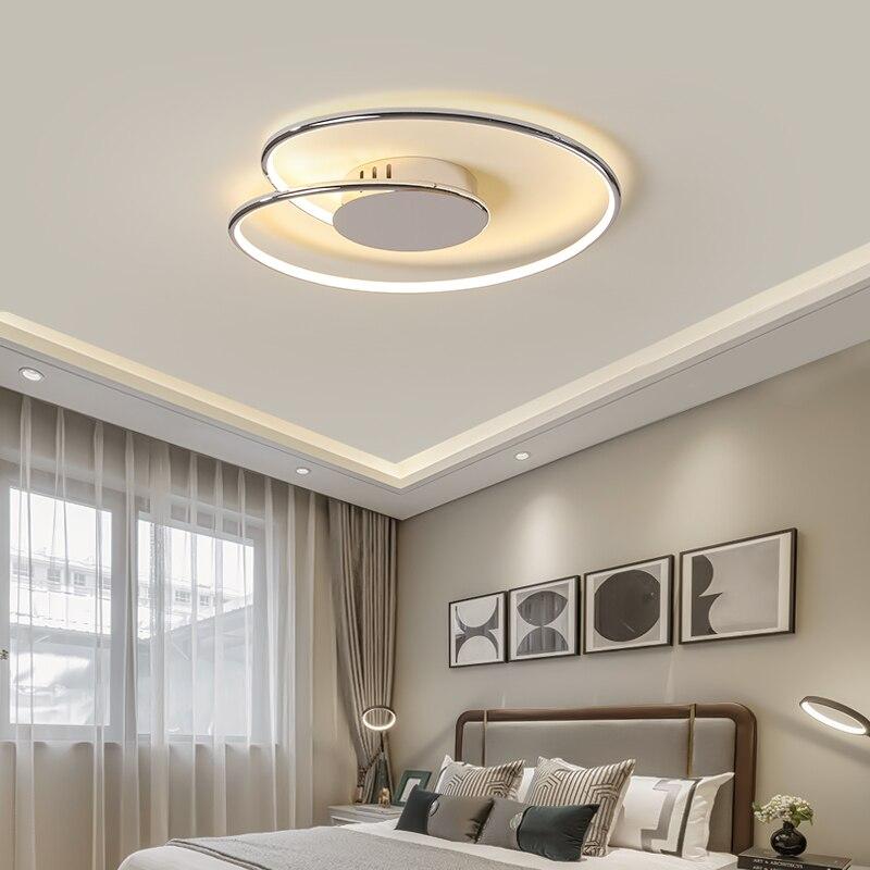 Luces de techo Led modernas cromadas/acabado dorado para sala de estar dormitorio estudio habitación decoración iluminación del hogar 90-260V lámpara de techo