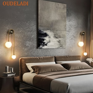 Nordic Glass ball bedside wall lamp G9 LED bedroom living room staircase aisle modern brass decor TV background wall lamp