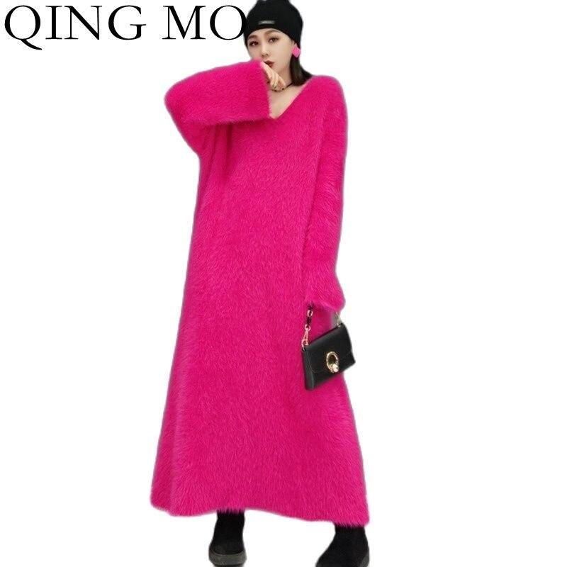 QINGMO 2021 الخريف الشتاء موضة جديدة بلون سترة فستان طويل المرأة فضفاض سليم المنك الكشمير الدافئة محبوك سترة ZWL1410