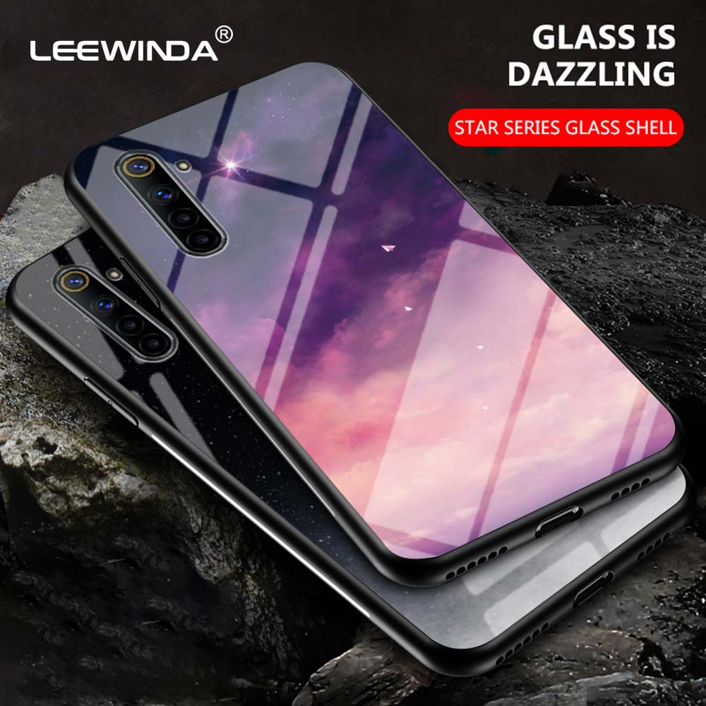 Capa de celular luxuosa de vidro temperado, capinha rígida para oppo realme 3 5 6 q pro tampa traseira anti queda 6pro