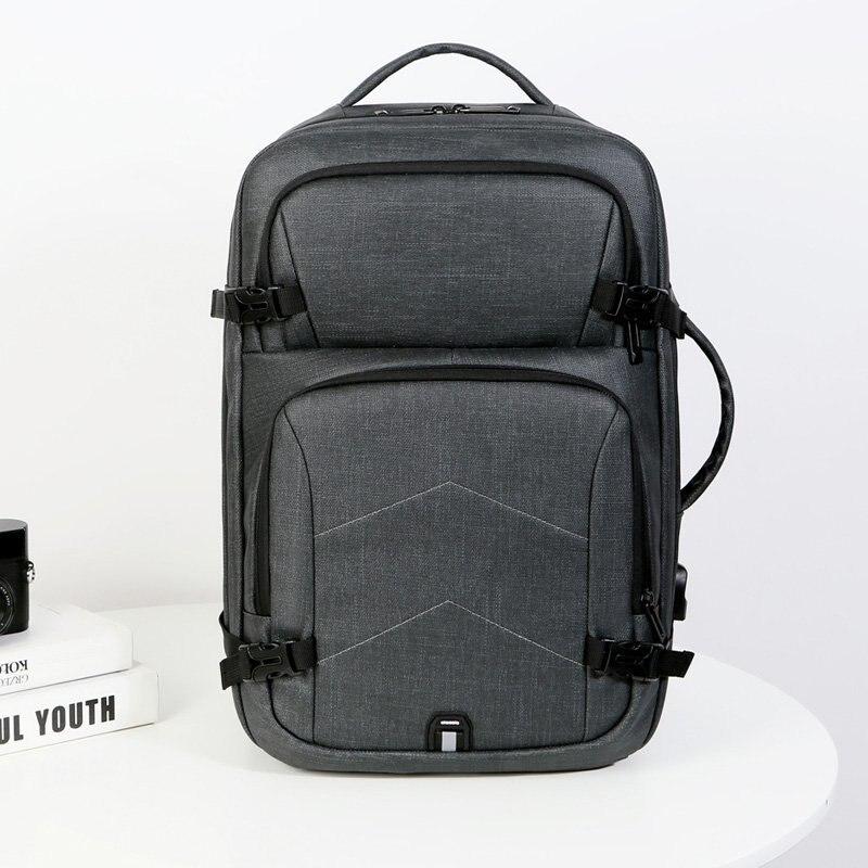 رجل حقيبة ظهر عادية USB شحن حقيبة لابتوب فاخرة مقاوم للماء شمعي الغراء رمادي متعدد الوظائف الحضرية الأعمال حقيبة الظهر رجل