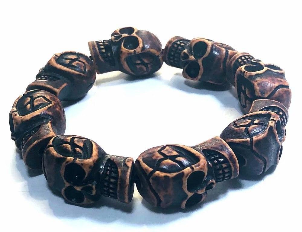 YQTDMY 10 قطعة سوار الاستبداد الجمجمة الشيطان الشرير القوطية الهيب هوب بسيط ل السائق الذكور الصبي مجوهرات الإبداع هدية الجملة