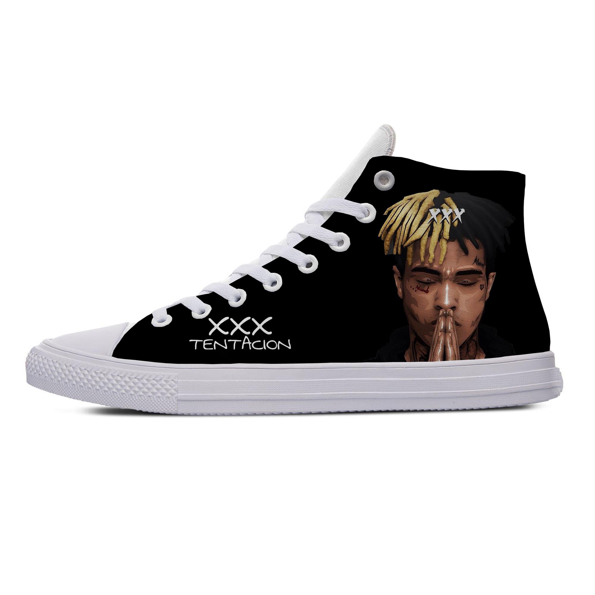 Hip Hop rapero XXXTentacion Hot Cool moda personalidad Casual zapatos de lona transpirable ligero zapatillas de deporte de impresión 3D hombres mujeres