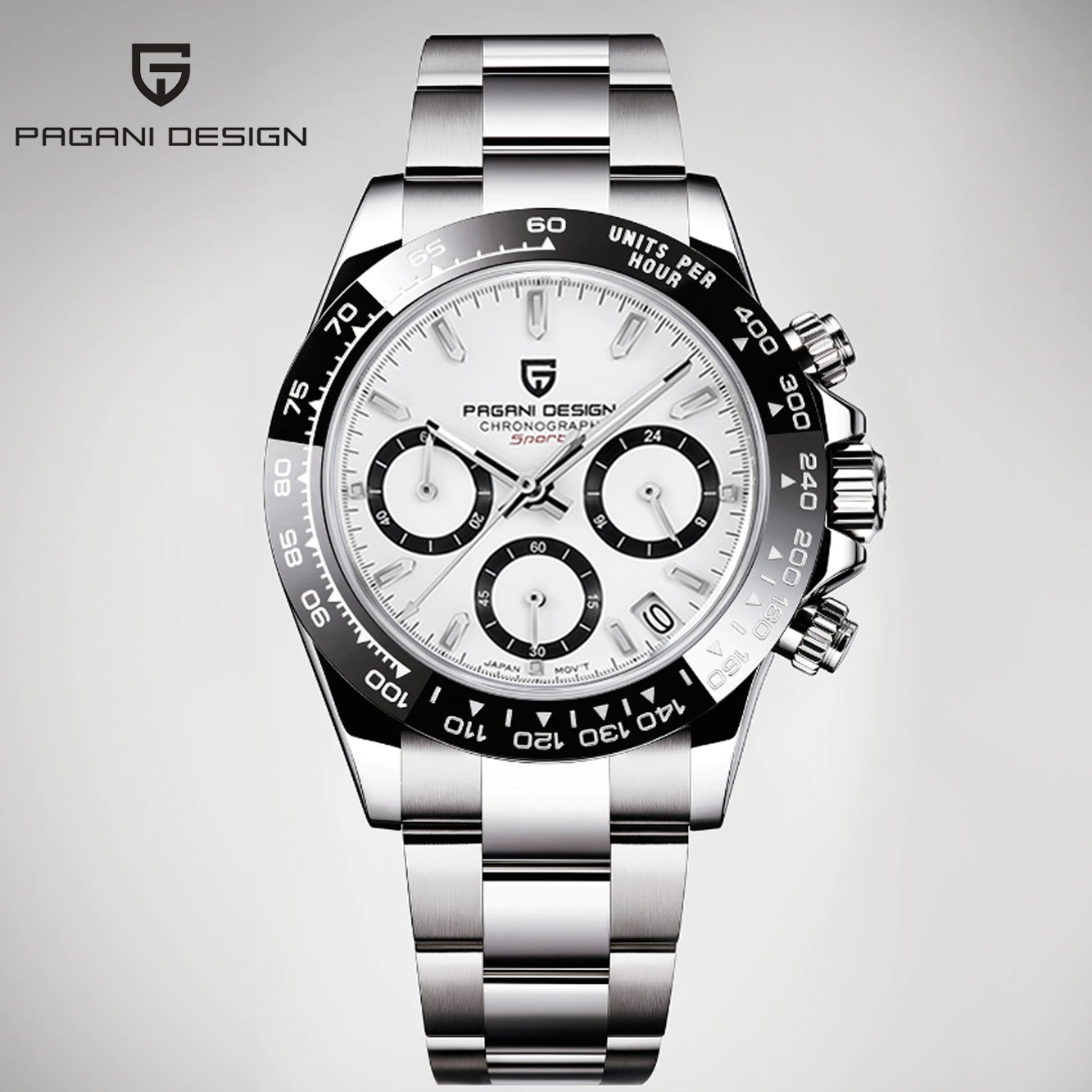 PAGANI design top brand men's sports quartz watch sapphire stainless steel waterproof men's chronograph Luxury Reloj Hombre 007