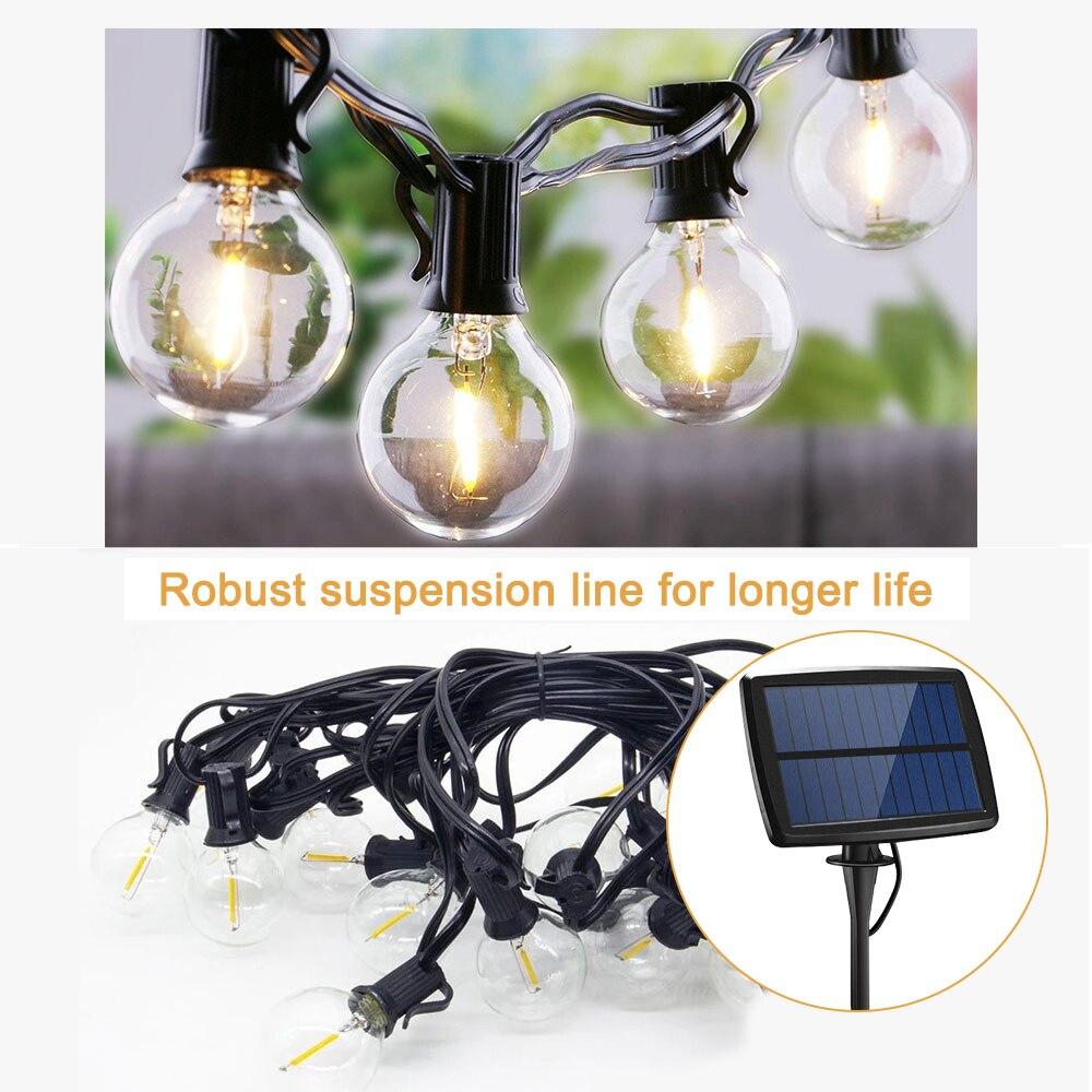 Luces LED de bola de cristal Solar impermeables al aire libre cadena de luces de bola de hadas con energía Solar para la lámpara exterior del Festival