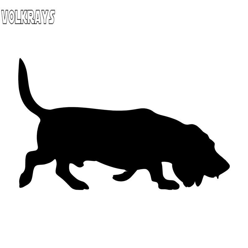 Volkrays Ceative Car Sticker Basset perro motocicleta accesorios reflectante calcomanía de vinilo a prueba de agua negro/Plata, 8cm * 14cm