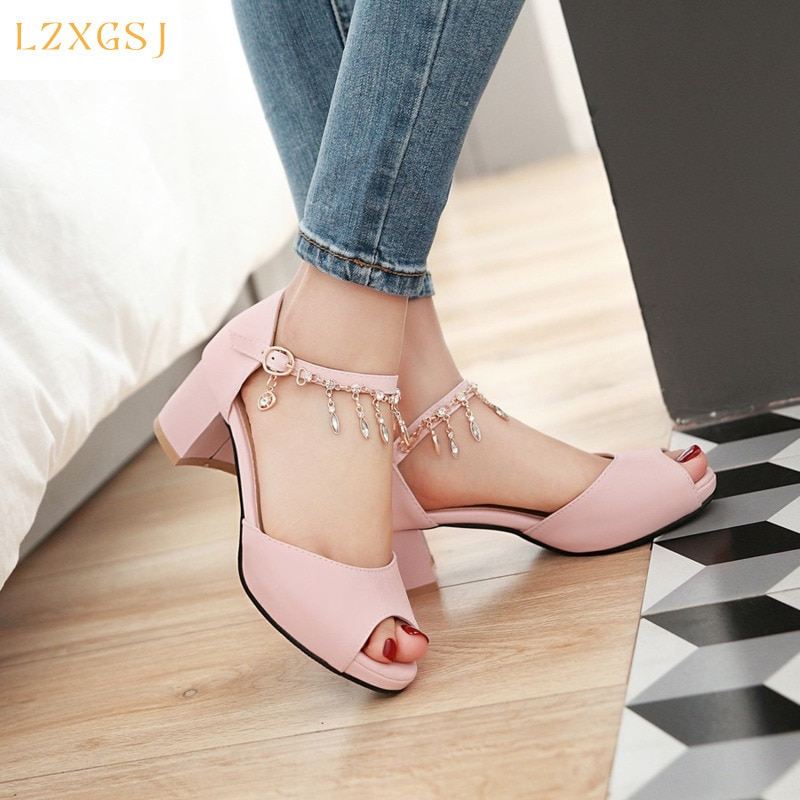 Summer New Arrivals Crystal Sandals Women 2021 Fashion Buckle Strap Thick Heels Sandals Female Peep Toe Women's Summer Shoes