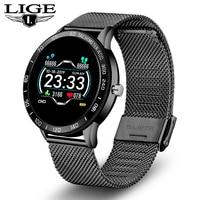 Смарт-часы LIGE мужские с цветным OLED-экраном, пульсометром, кровяным давлением, многофункциональным режимом, спортивные умные часы, фитнес-тр...