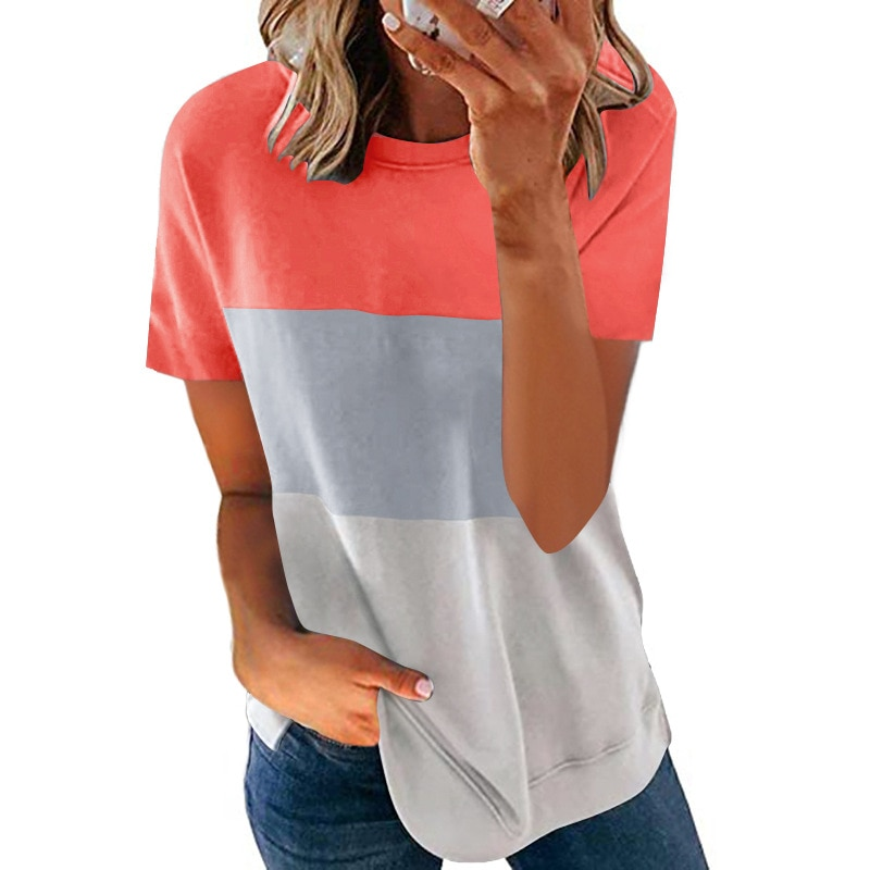 T-Shirt Women Round Neck  Summer Top Stitching Solid Color Mid-Length Blouses Casual Loose Tops  High Street Women