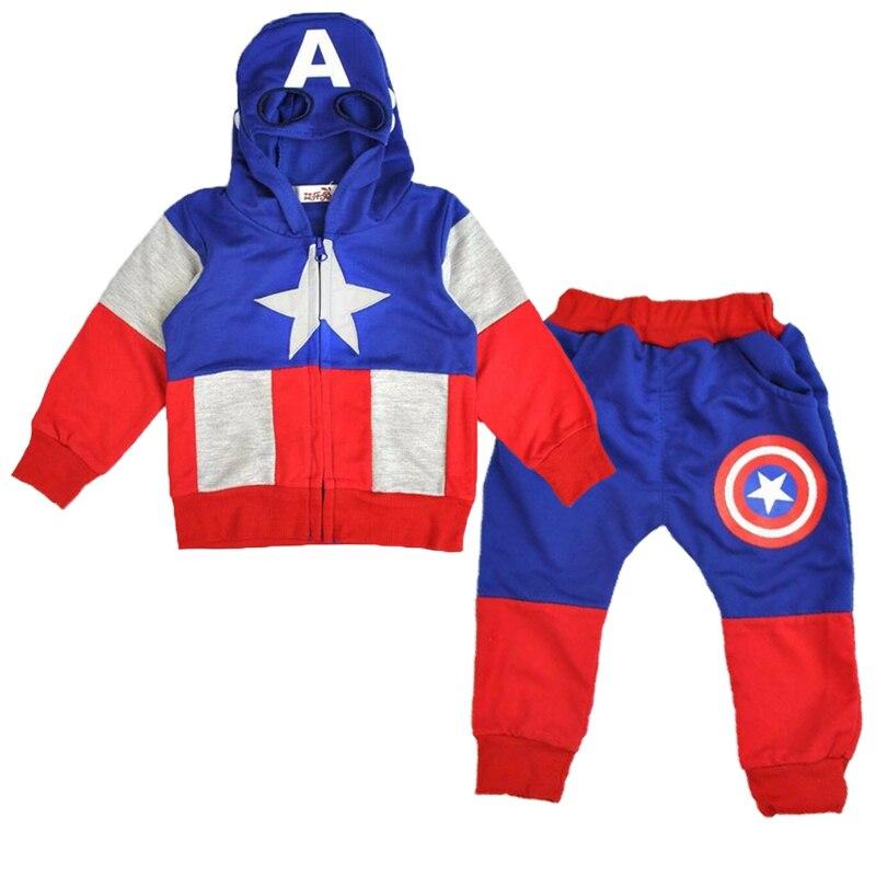 Conjunto de ropa para niños de Capitán América, Sudadera con capucha de algodón y pantalones, traje de 2 piezas para niños pequeños, ropa para niños, conjunto de ropa para niños