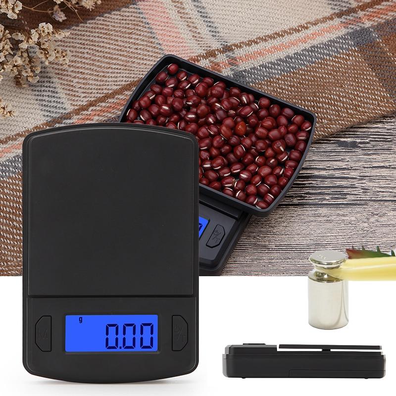Báscula de bolsillo pequeña de alta precisión para pesar joyas y comida dorada, báscula 100/200/500g, balanza de peso gramo, báscula electrónica LCD