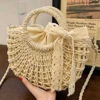 straw weave shoulder handbags for women hollow out tote bags rattan manufacture crossbody bag ladies summer beach messenger bag