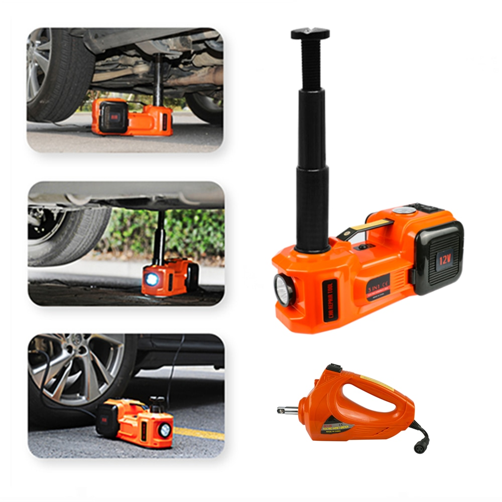 3 in 1 5ton Car Floor Jack Electric Hydraulic Car Jack 12V with Inflator Pump LED Light for Truck Tire Repair Tool QZ001