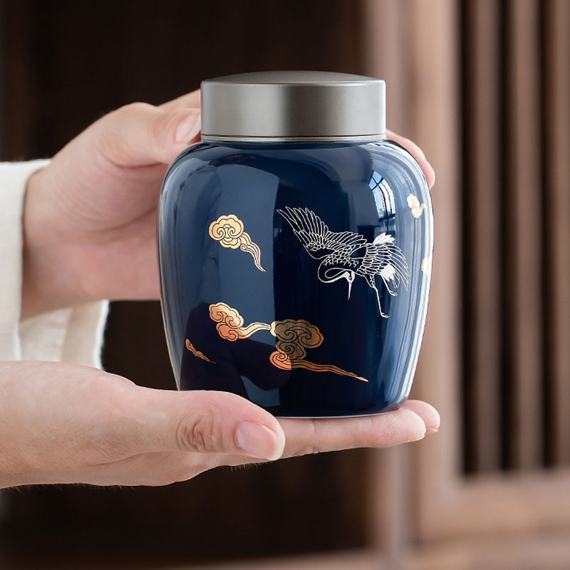 الصينية شاي سيراميك وعاء المنزل مكتب الأجهزة الصغيرة المحمولة Teacan صندوق شاي صندوق خشبي شاي أخضر تخزين خزان الشاي وير الجرار وعاء