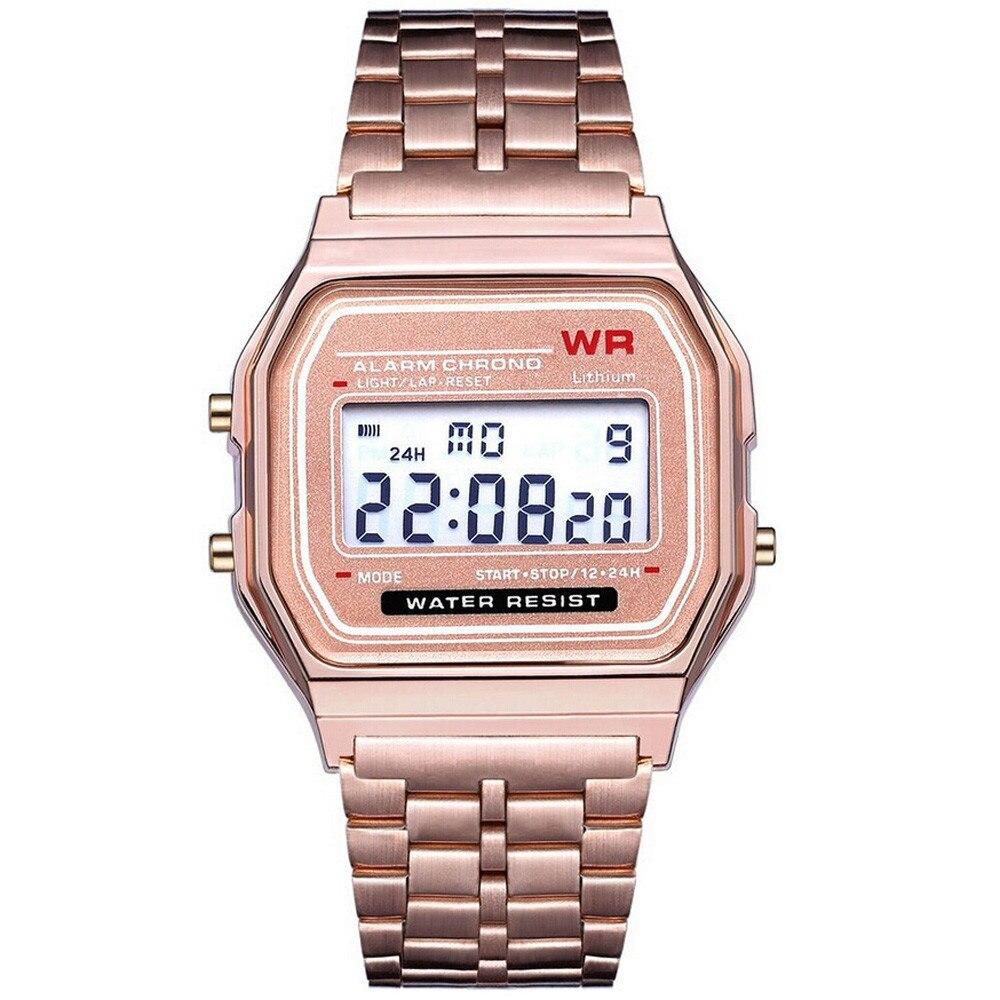 Relojes electrónicos reloj de cuarzo LED Digital resistente al agua para hombres y mujeres reloj de pulsera dorado de acero inoxidable reloj Masculino