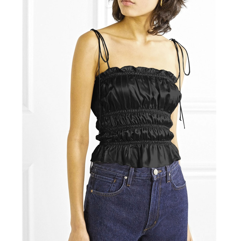 AEL, blusa negra sexi de mezcla de satén, camisola de mujer con cuello oblicuo, encaje fruncido, túnica con Espalda descubierta, chaleco femenino de verano 2020 Mew