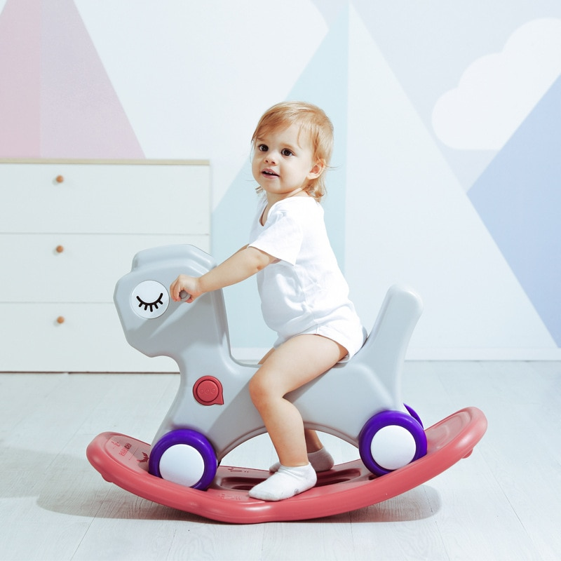 LazyChild Small Trojan Child Rocking Horse Amphibious Car Toys Baby Rocking Chair Birthday Gift For Child Baby Rocking Horse