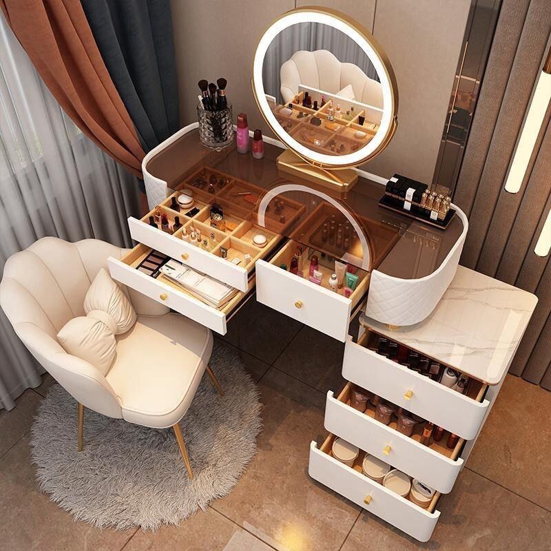 Скандинавский столик для макияжа с зеркалом, туалетный столик, шкафы для спальни, туалетный столик, роскошная светильник для спальни