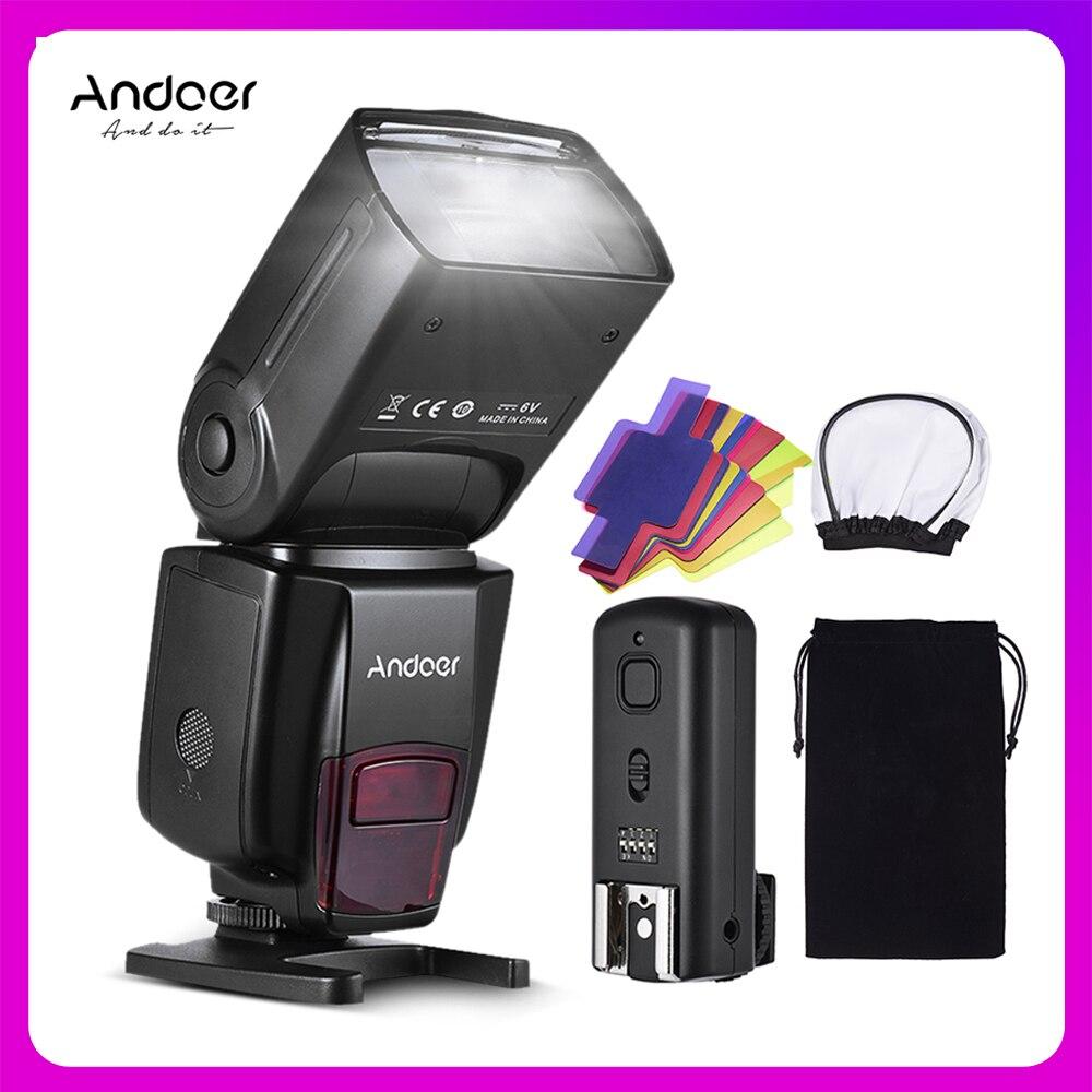 Andoer ad560 iv pro na câmera speedlite flash luz gatilho filtros de cor difusor sapato quente para câmera canon nikon sony