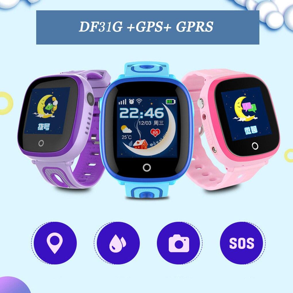 DF31G GPS montre intelligente tactile enfants montre intelligente caméra bébé SOS appel localisation localisateur Tracker Anti perdu étanche smartwatch