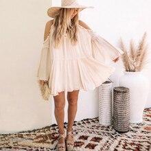 TEELYNN boho Cold shoulder mini dress beige Solid Flare Sleeve ruffles summer dresses beach casual loose vestidos women dresses